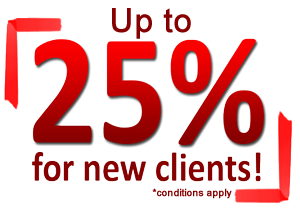 25 Percent off for new clients!